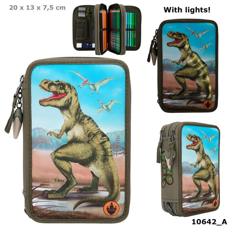 Dino World Filled Triple Pencil Case With LED