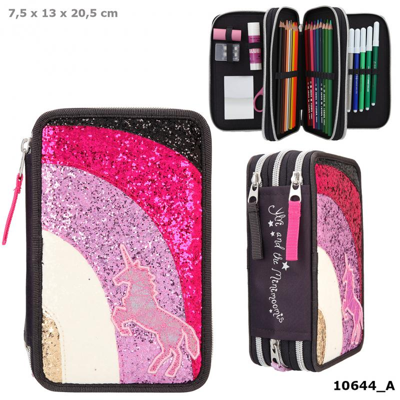 Ylvi Filled Triple Pencil Case Rainbow Glitter Anthracite