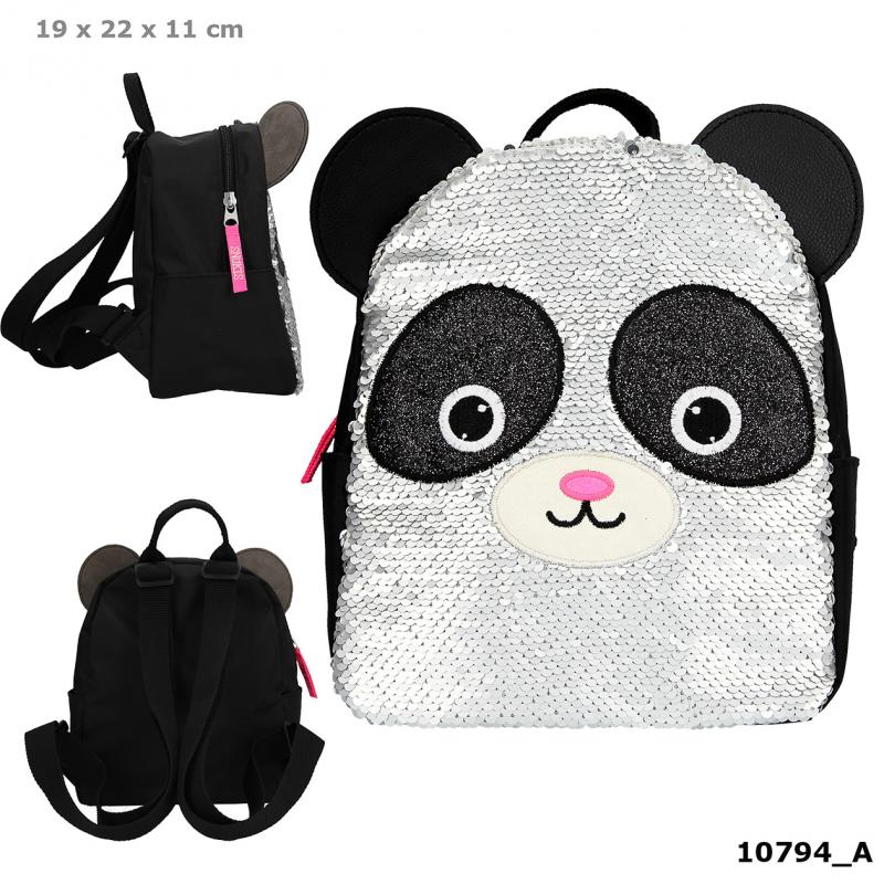SNUKIS Small Backpack Reversible Sequins Panda
