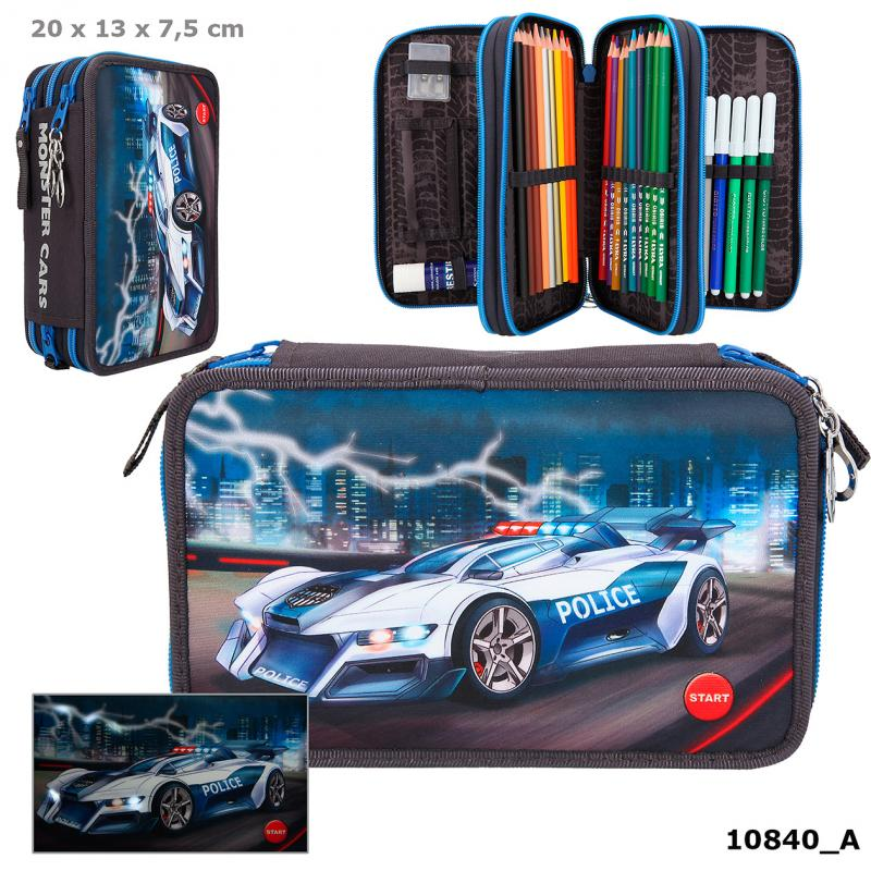 Monster Cars Filled Triple Pencil Case With LED Police Car