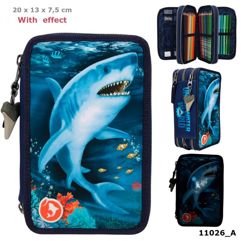 Dino World Triple Pencil Case With LED UNDERWATER
