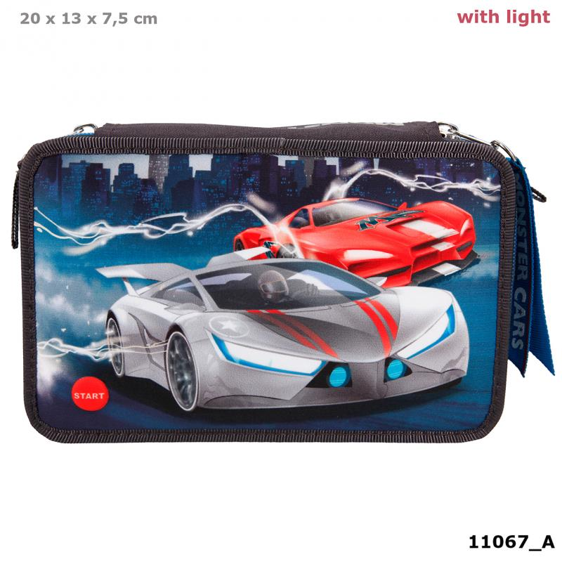 Monster Cars Triple Pencil Case With LED