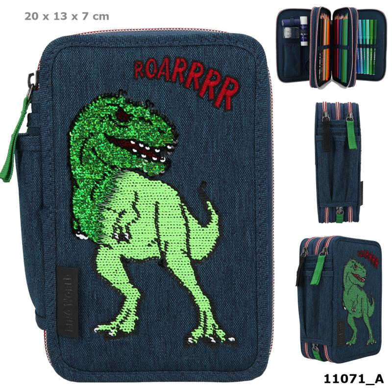 Dino World Triple Pencil Case Sequins Blue
