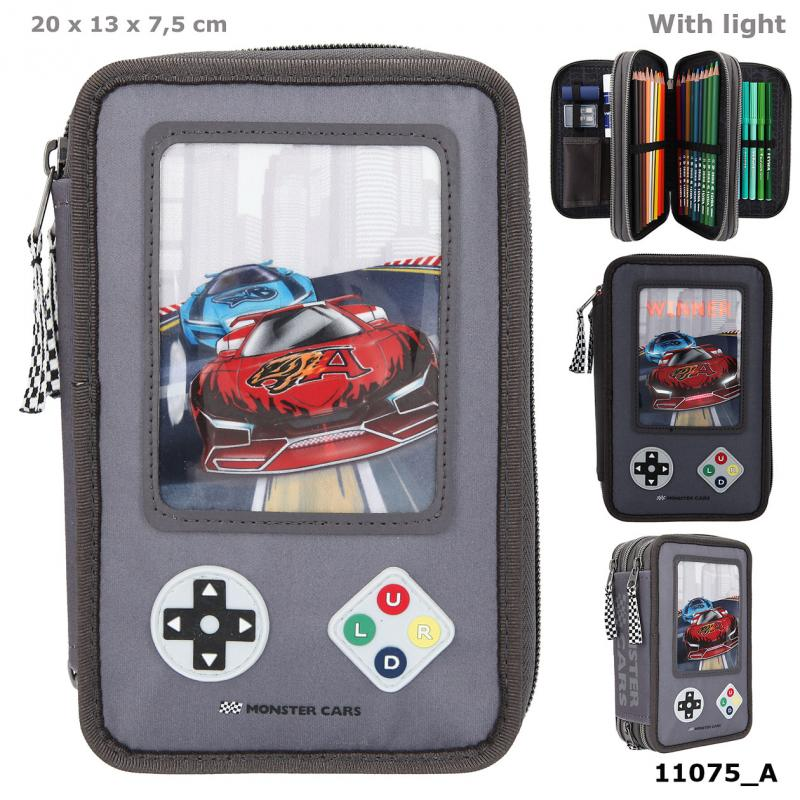 Monster Cars Trousse 3 niveaux LED Gamer