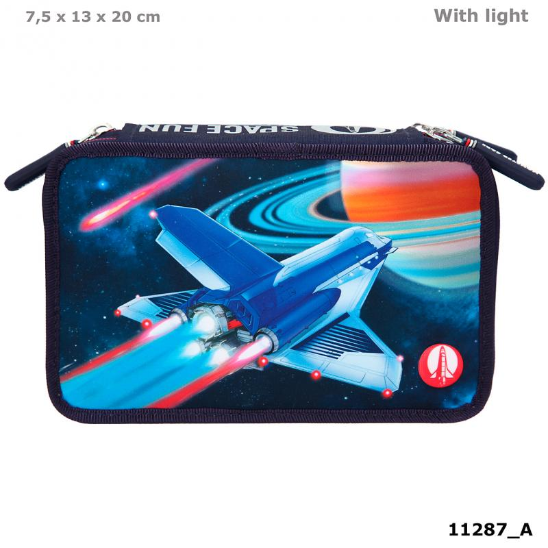 Monster Cars Triple Pencil Case LED Space
