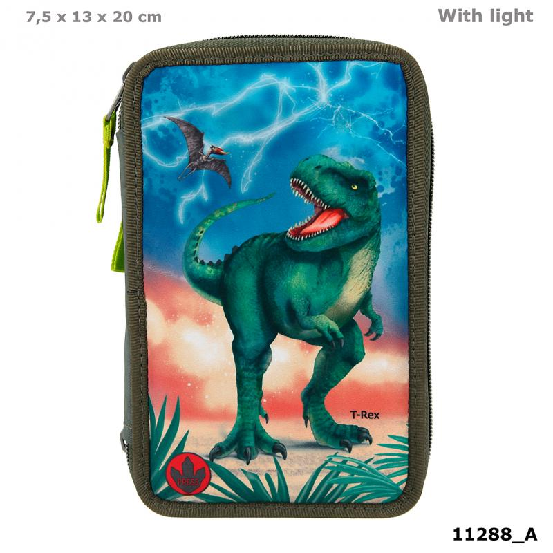 Dino World Triple Pencil Case LED T-Rex