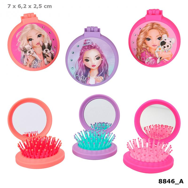 TOPModel Folding Hairbrush With Mirror